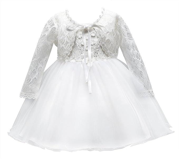 26852b4cb16d5 Happy Cherry Robe de Cérémonie Bébé Fille Tulle Robe de Princesse Manches  Longues pour Anniversaire Soirée