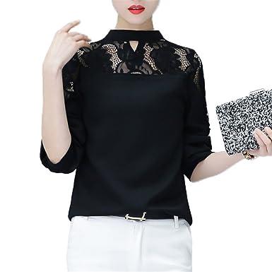 OUXIANGJU Women Spring Hollow Lace Tops Ladies Blouse Long Sleeve Patchwork Chiffon Shirts
