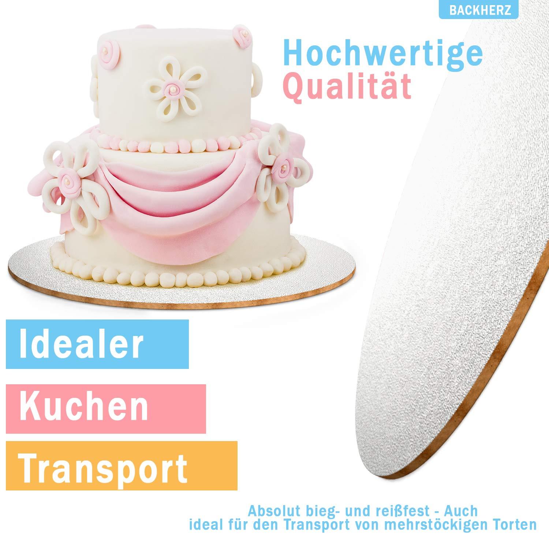 F/ür Transport und Deko Lebensmittelecht 3mm Dick Silber 20 25 BACKHERZ Cake Board Rund 4er Set /Ø 15 30cm Kuchenplatte Tortenunterlage Tortenplatte