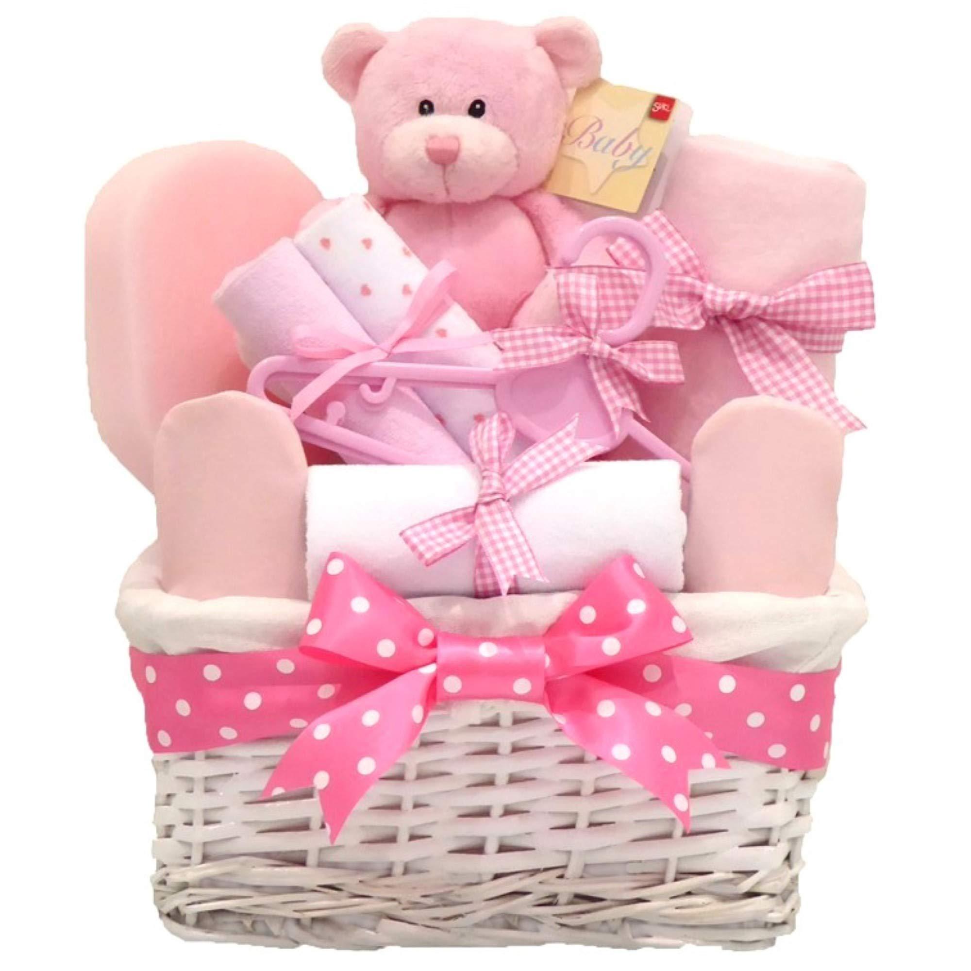 Newborn Essentials Baby Pink with Baby Clothes Baby Girl Gift Basket Hamper