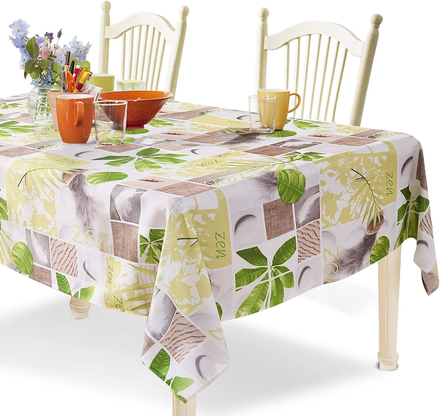 YEMYHOM 100% Polyester Spillproof Tablecloths for Rectangle Tables 60 x 84 Inch, Modern Printed Indoor Outdoor Camping Picnic Rectangular Table Cloth (Green Plants)
