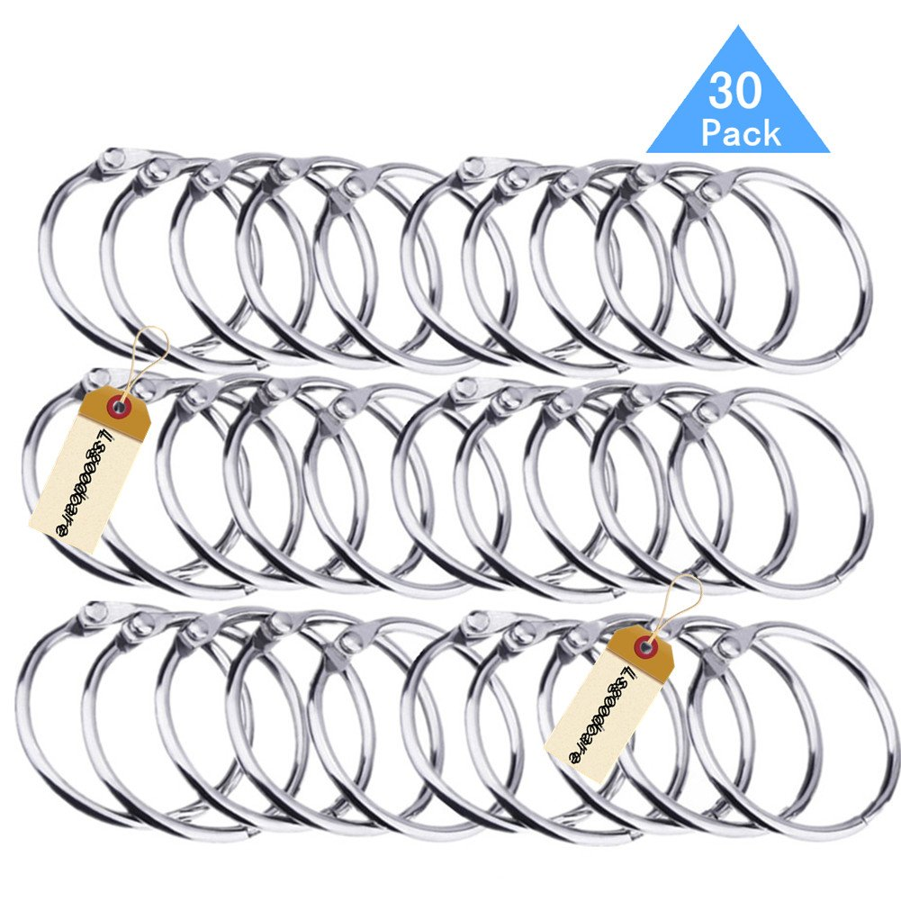 Lsgoodcare Metal Loose Leaf Binder Rings with 1.5 Inch Interior Diameter, Silver Openable Rings for Book/Key Chain/Photo Card/Paper Organization/Curtain Ect, Pack of 30