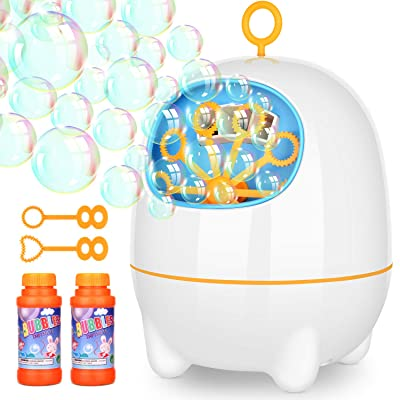 Victostar Bubble Machine, Automatic Bubble Machine Two Bubbles Blowing Speed Levels for Outdoor Indoor,USB Charging (Q Shape Bubble Machine): Toys & Games