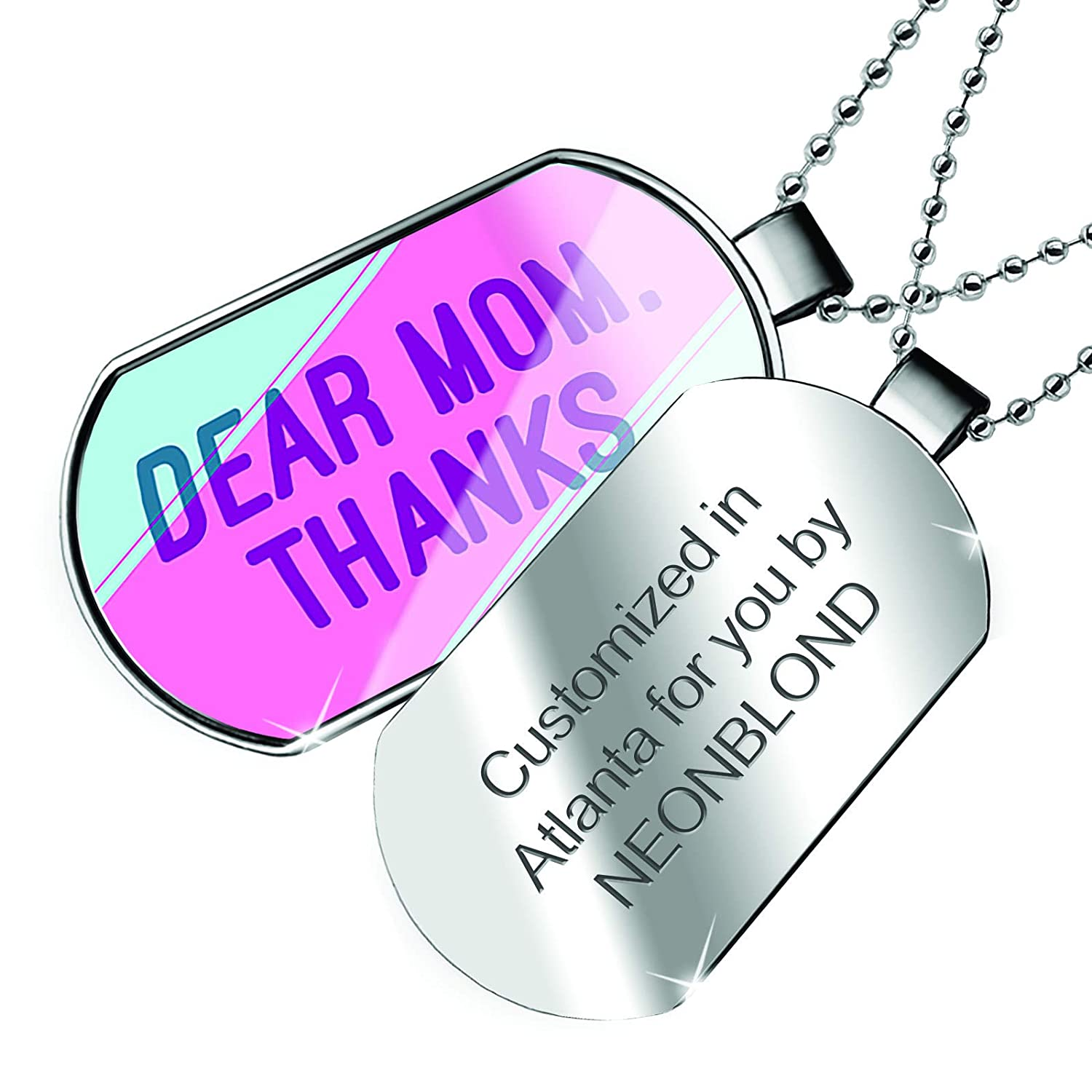 Thanks Mothers Day Pink and Purple Dogtag Necklace NEONBLOND Personalized Name Engraved Dear Mom
