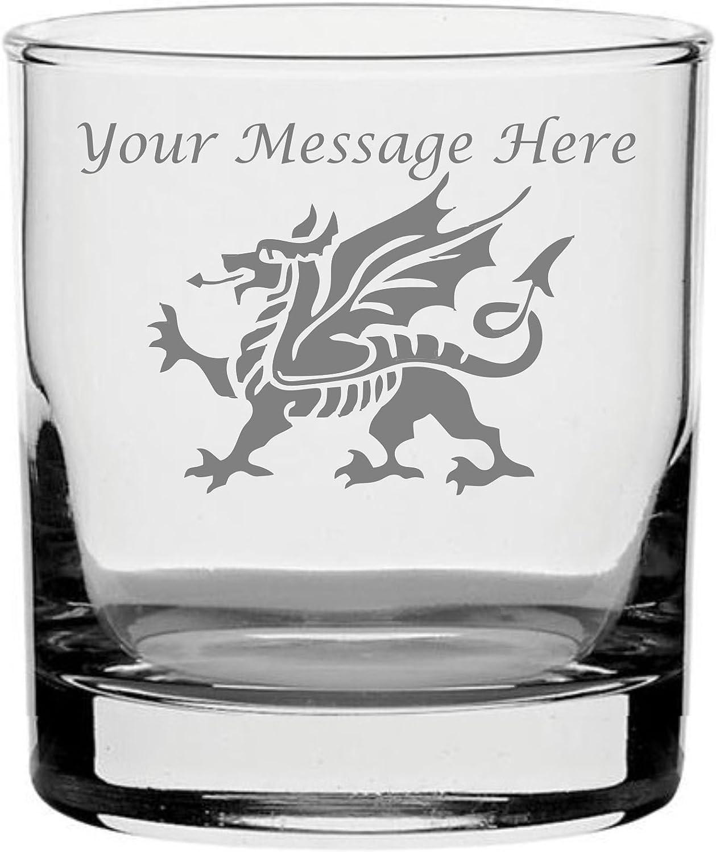 Personnalisé Gravé whisky verre avec dragon gallois Design
