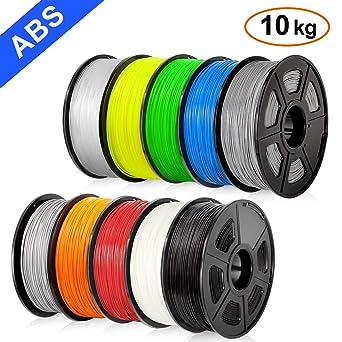 Filamento ABS de 1,75 mm para impresora 3D, 10 x 1 kg, filamento ...