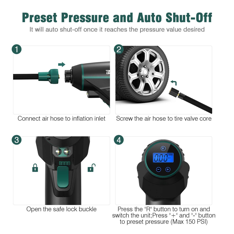 12V 150PSI Aufladbar Kompressor mit LCD Bildschirm BEAUDENS Auto Luftpumpe Elektrischer Luftpumpe 150 psi LCD-Batterieanzeige Tragbarer Kabelloser Luftkompressor mit Akku