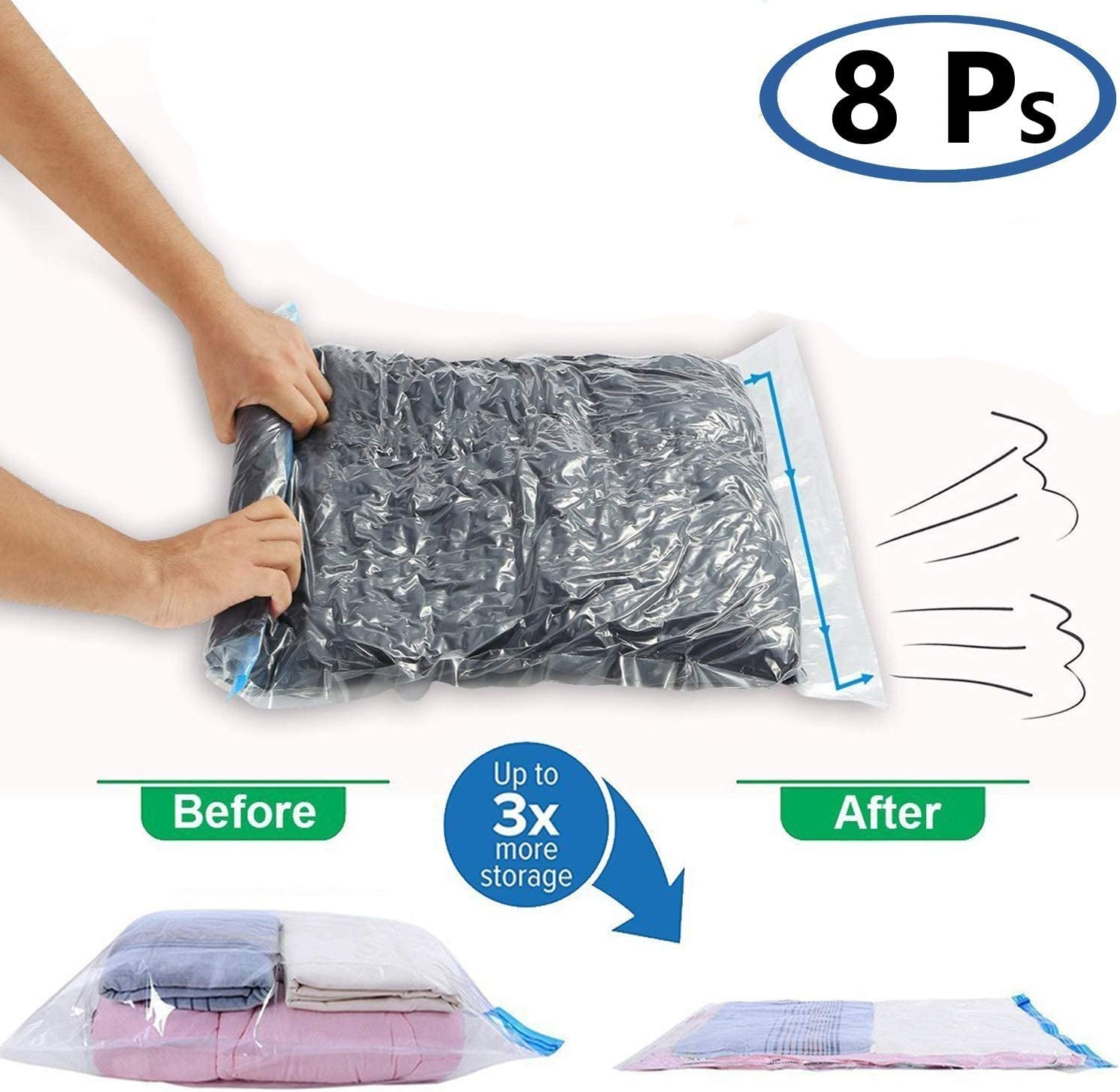 SunCaptor 8 packs Travel Storage Bags for Clothes - Compression Bags for Travel - No Vacuum or Pump Needed-Save Space in your Luggage