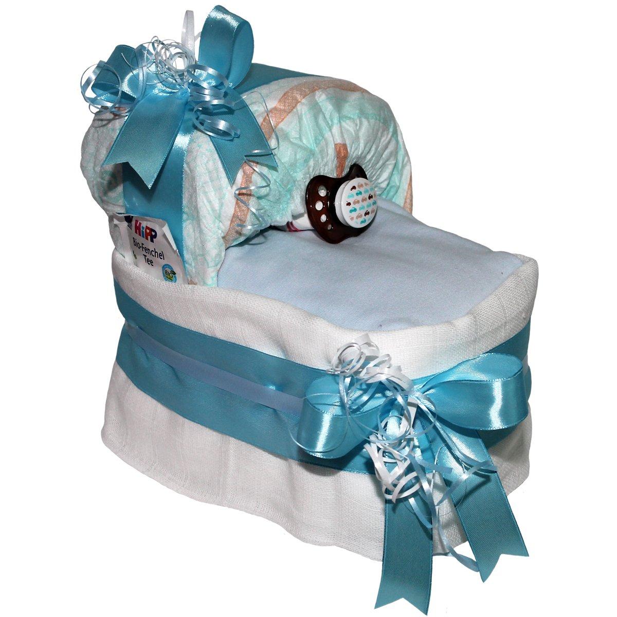 Kleines Windelbettchen Pimfi Boy Windeltorte ein tolles Geschenk zur Geburt oder Taufe
