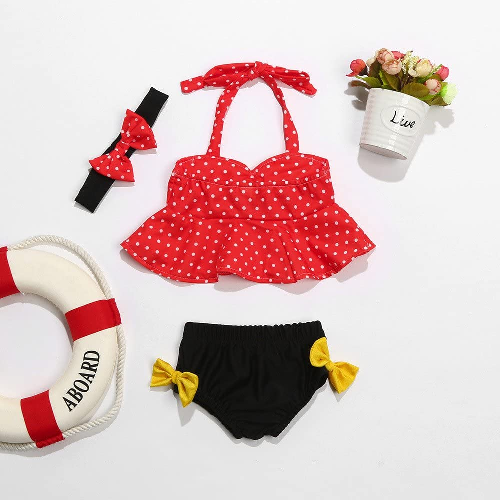 Cuekondy 6-24 Months Toddler Baby Girls Swimsuit Tankini 3Pcs Dot Bowknot Swimwear Shorts Headband Bathing Bikini Set