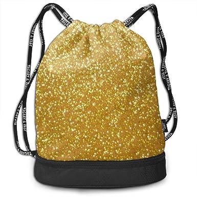 Amazon.com: Mochila con cordón dorado con purpurina para ...