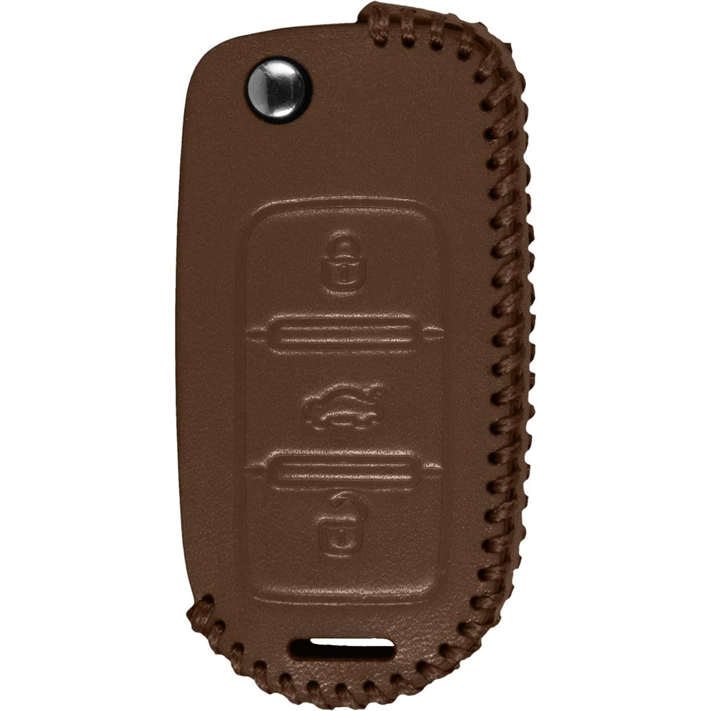 Echtleder stitched Schlüssel Hülle VW Polo 3-Tasten schwarz Klappschlüssel