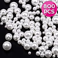 Pearl Beads, Anezus 800pcs Ivory Pearl Craft Beads Loose Pearls for Jewelry Making, Crafts, Decoration and Vase Filler (Assorted Sizes)