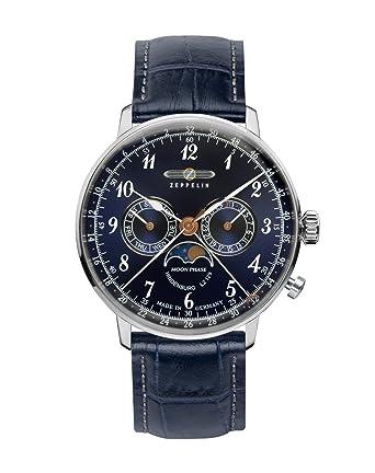 Amazon.com: Graf Zeppelin Hindenburg Swiss Quartz Moonphase Calendar Dress Watch 7036-3: Watches