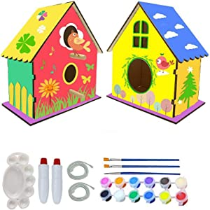 DIY Crafts Bird House Kit, 2Pcs/Set DIY Crafts Woodworking Building Gardening Project for Kids and Adults,Build Your Own Bird House Kit with 12 Colors Paints & 3 Brushes for Girls Boys Age 3-12 Home