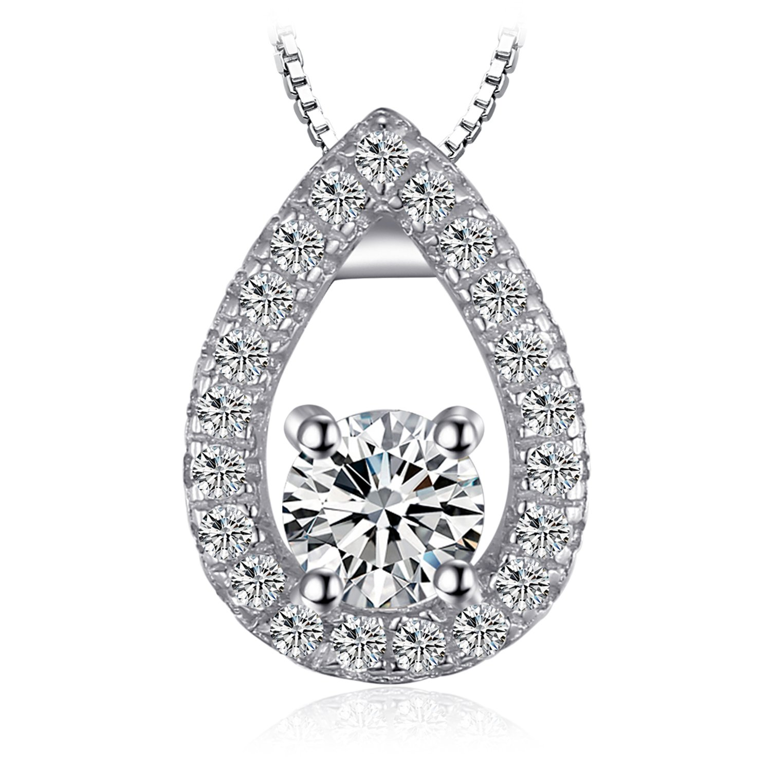 """SIMULATED DIAMOND CLUSTER PENDANT 925 STERLING SILVER  /& 18/"""" Chain Necklace"""
