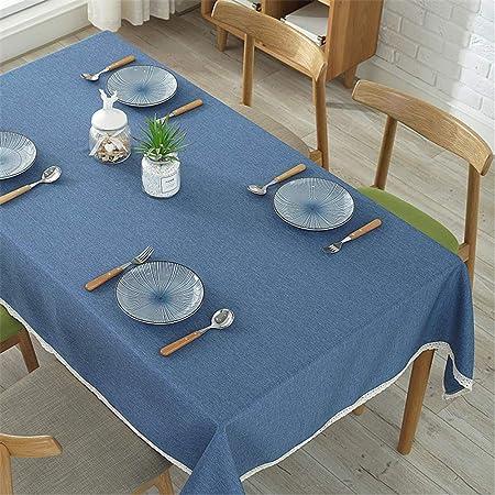DHHY Mantel de Algodón Y Lino Color Sólido Encaje Tela de Mesa de Café A Prueba de Polvo Fiesta Festiva decoración Mantel A 140X200cm: Amazon.es: Hogar