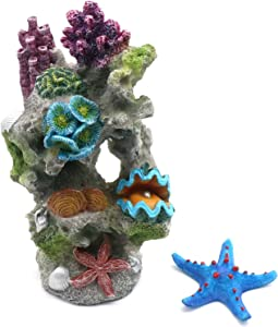 Fish Tank Rocks Resin Artificial Coral Inserts Decor Shell Ornaments Reef Aquarium Coral Decoration for Betta Fish Tank Fish to Sleep Rest Hide Play