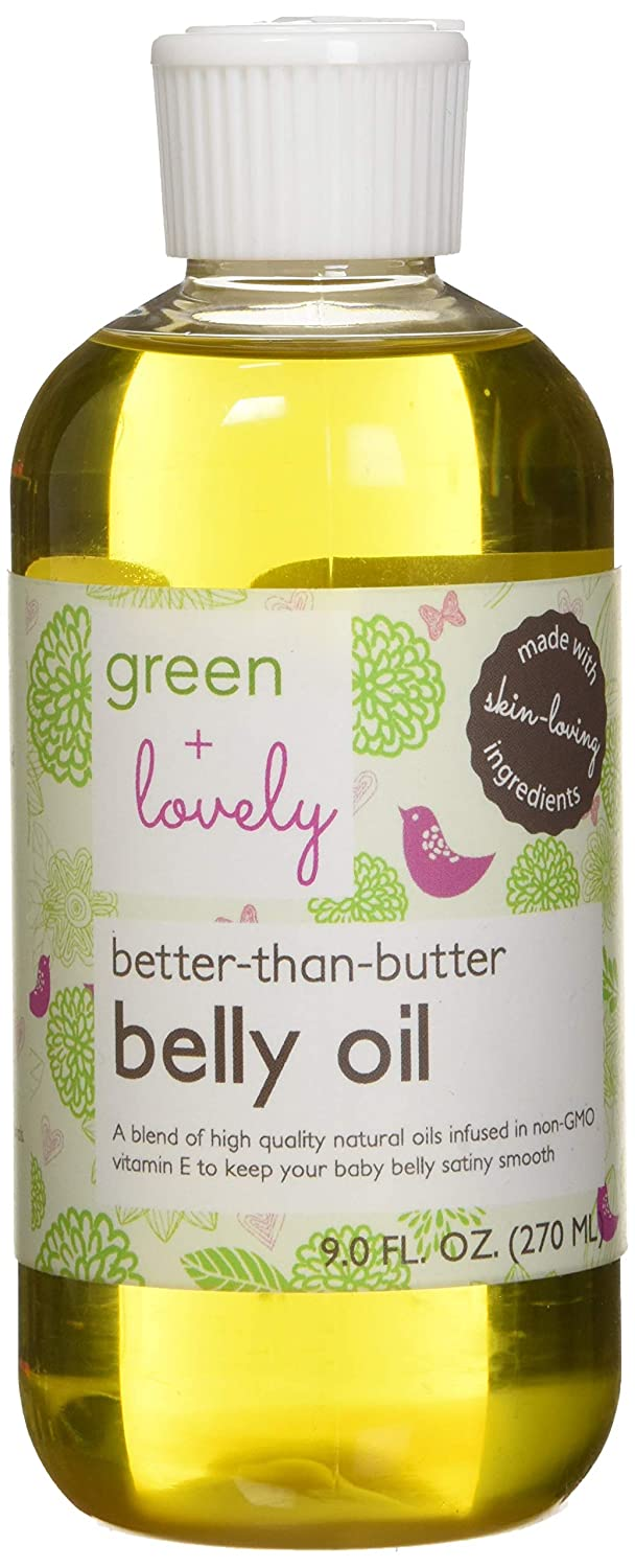 Green + Lovely better than butter belly oil, unscented, 9 Fluid Ounce