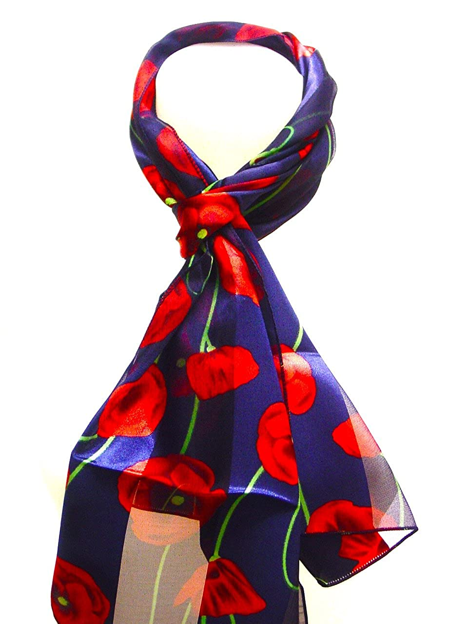 Beautiful Long Poppy Flower Print Satin Stripe Scarf Wrap Stole Neck Scarf