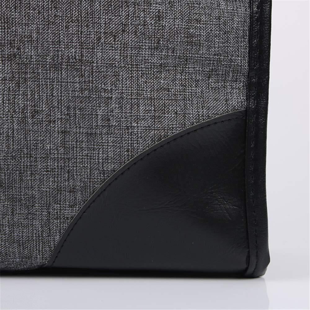 Gray Briefcase TLMYDD Portable Business Bag File Bag Canvas A4 Business Mens Briefcase Meeting Briefcase Waterproof Multi-Layer Handbag