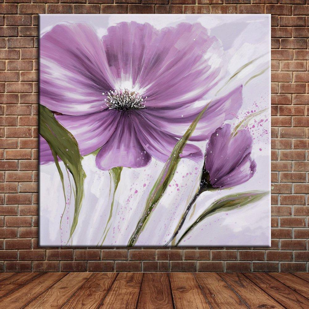 IPLST@ Moderne Wand Kunst Handgemalte Lila Blumen Ölgemälde Leinwand ...