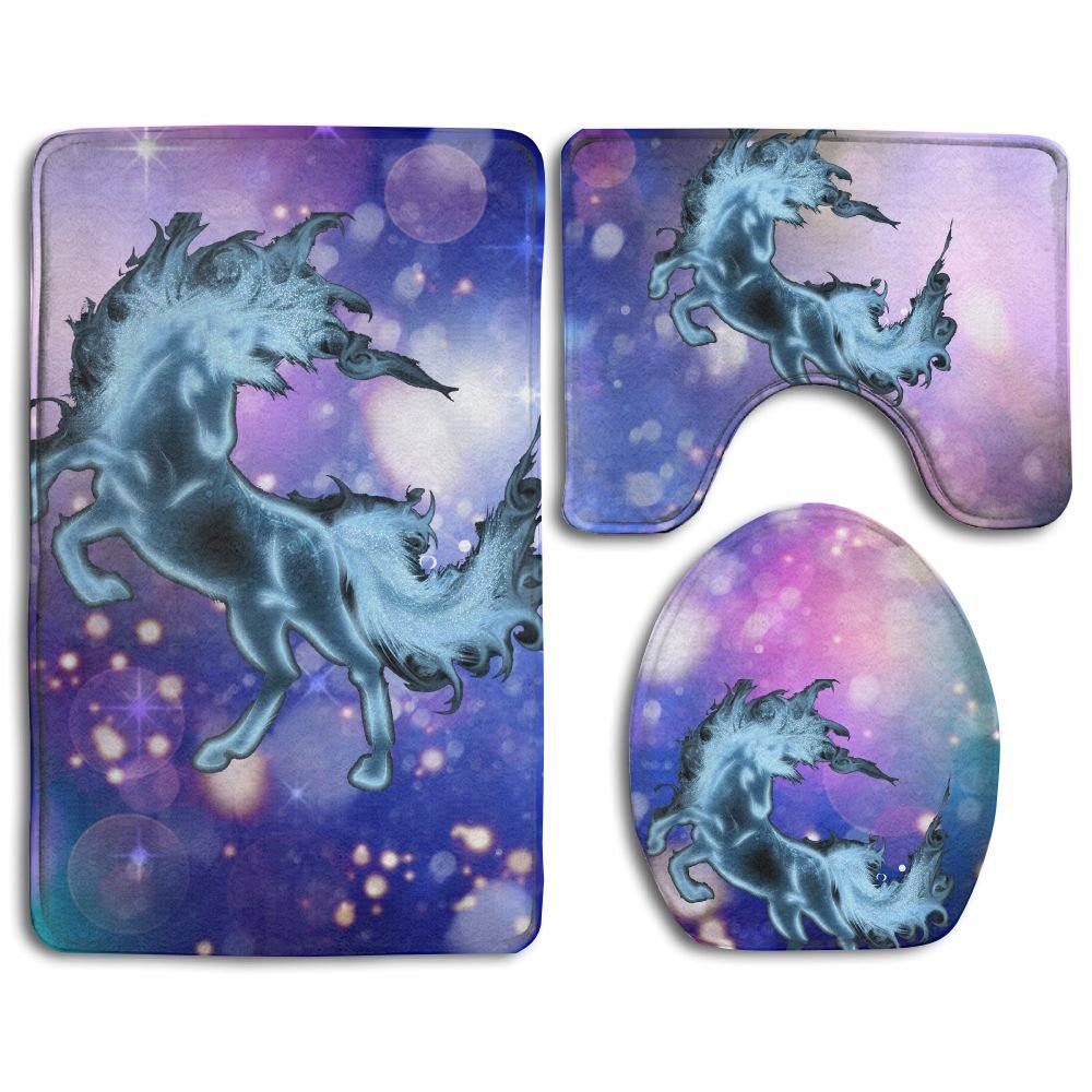 Horse Ice Fire Animals Skidproof Toilet Seat Cover Bath Mat Lid Cover