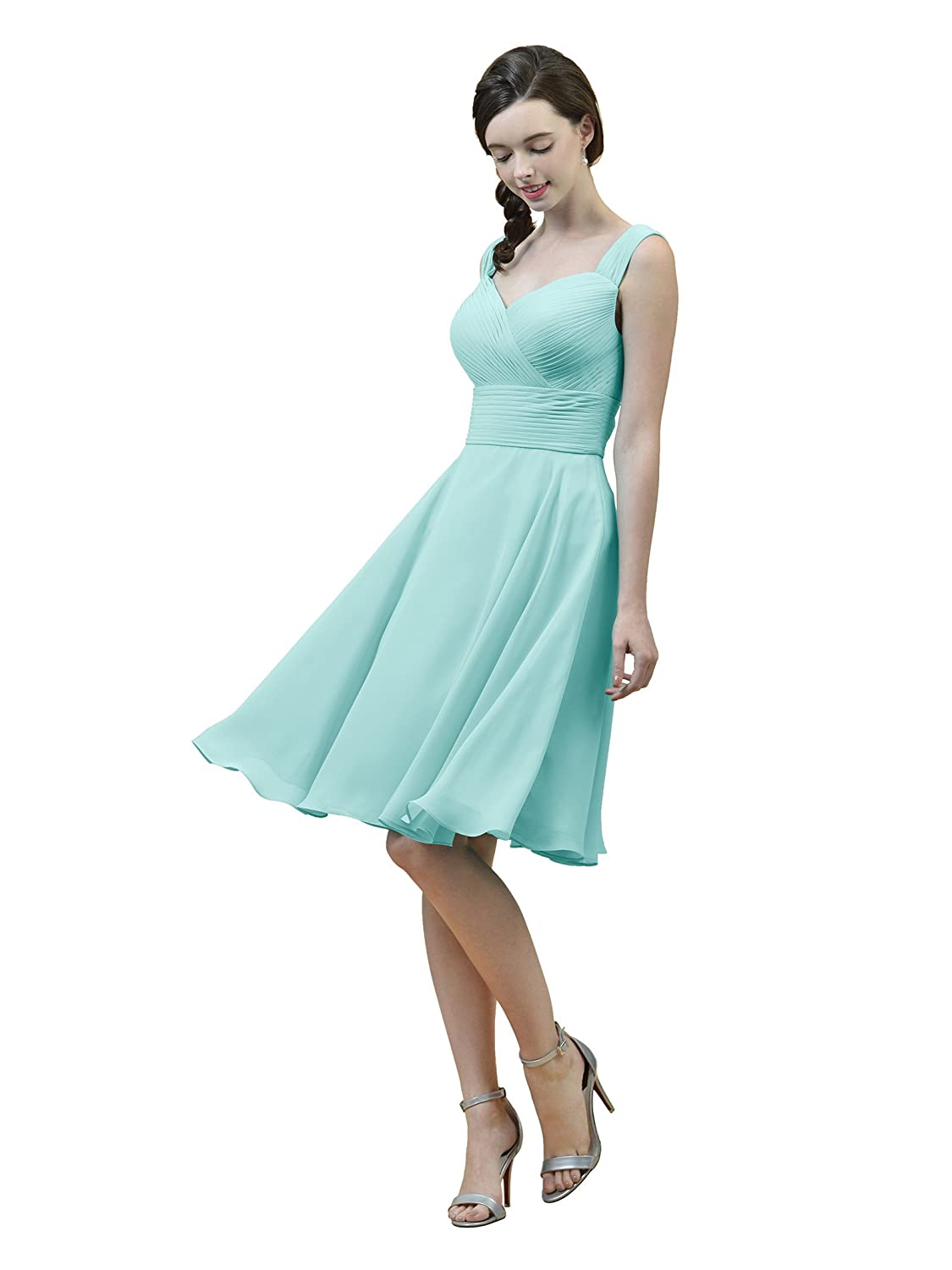 Alicepub Short Chiffon Bridesmaid Dress A-Line Party Prom Gown ...