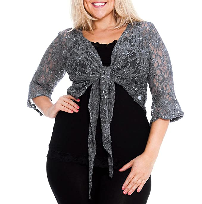 LADIES PLUS SIZE TIE UP SHRUG 3//4 SLEEVE CROP CARDIGAN BOLERO TOPS 12-26 NEW
