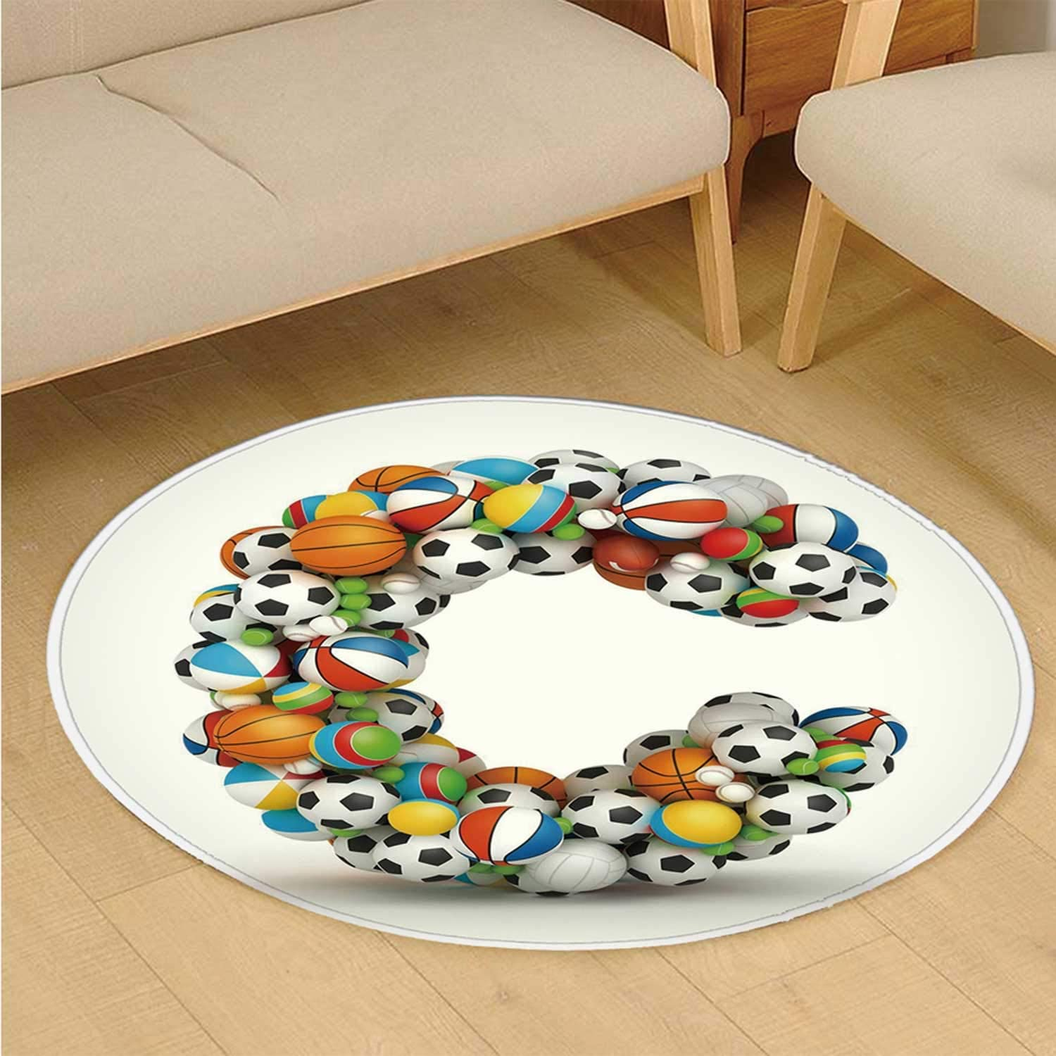 17.71 x 35.43 inch C COABALLA Letter C Comfortable Semicircle Mat,Sporting Goods in The Shape of Letter C Fun Activity Competitive Plays Equipment for Door,45 x 90cm