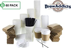 Brew Addicts JUMBO Pack White Coffee Cups | White Insulated Disposable Hot Cups with Lids, Sleeves & Stirrers for Tea, Chocolate | Excellent for To-Go Travel Mug, Parties and More | 12 Oz. (60 Pack)