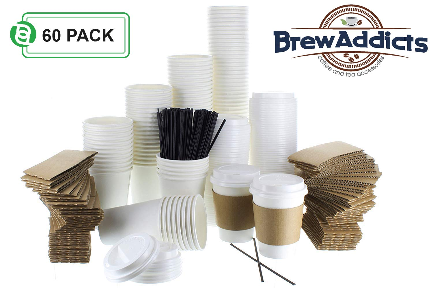 JUMBO Pack White Coffee Cups | White Insulated Disposable Hot Cups with Lids, Sleeves & Stirrers for Tea, Chocolate | Perfect for To-Go Travel Mug, Parties and More | Size 12 Ounce | 60 Count
