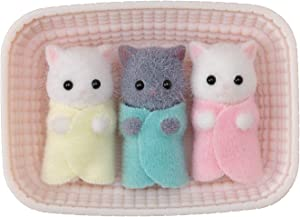 Calico Critters, Persian Cat Triplets, Dolls, Dollhouse Figures, Collectible Toys; Figures and Cradled Accessory Included