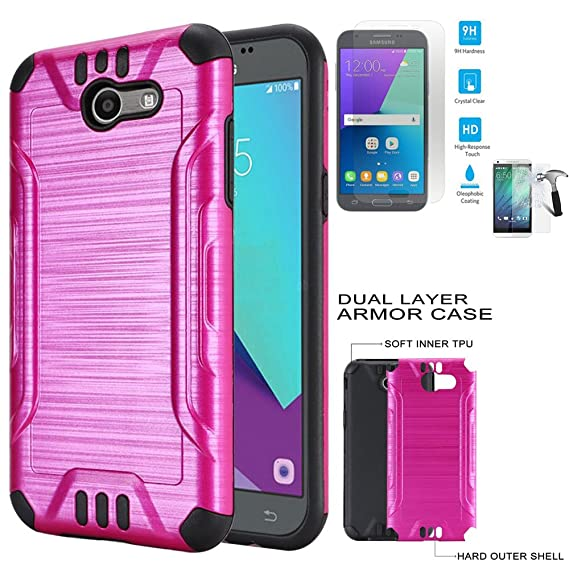 huge discount 69c43 93564 Phone Case for Straight Talk Samsung Galaxy J3-Luna-Pro / J3-Emerge /  Galaxy-Express-Prime-2 4G LTE Tempered Glass with Dual-Layered Cover  (Combat ...