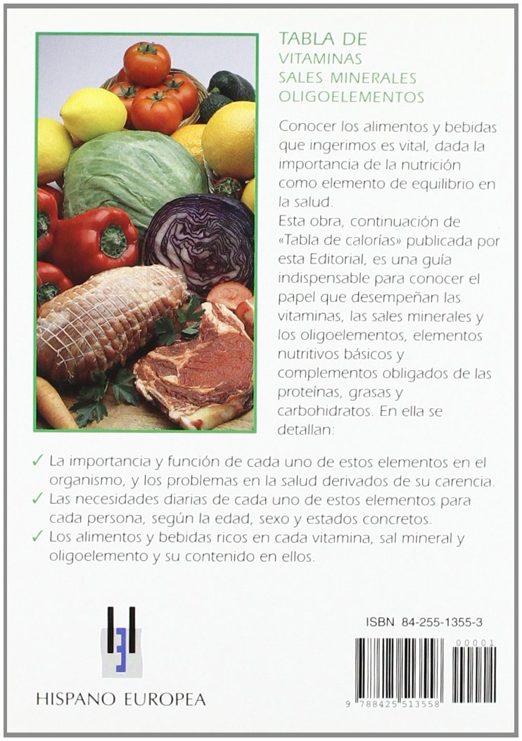 Tabla de vitaminas, sales minerales, oligoelementos Tablas de alimentos: Amazon.es: Ph. Dorosz: Libros