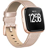SWEES Leather Bands Compatible with Fitbit Versa 2 & Versa Lite Small & Large, Genuine Leather Band with Stainless Steel Buckle Strap Replacement Wristband for Versa Women Men, Rose Gold, Black, Brown
