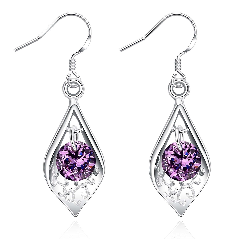925 Sterling Silver Purple Crystal Filigree Teardrop Water Drop Dangle Earring Ear Hook For Women Girls 7UdzA