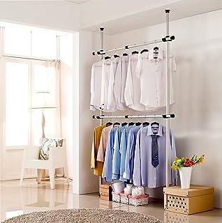 Asunflower Adjustable Clothing Rack Portable 2 Tier Closet Organizer Free  Standing Garment Rack Heavy