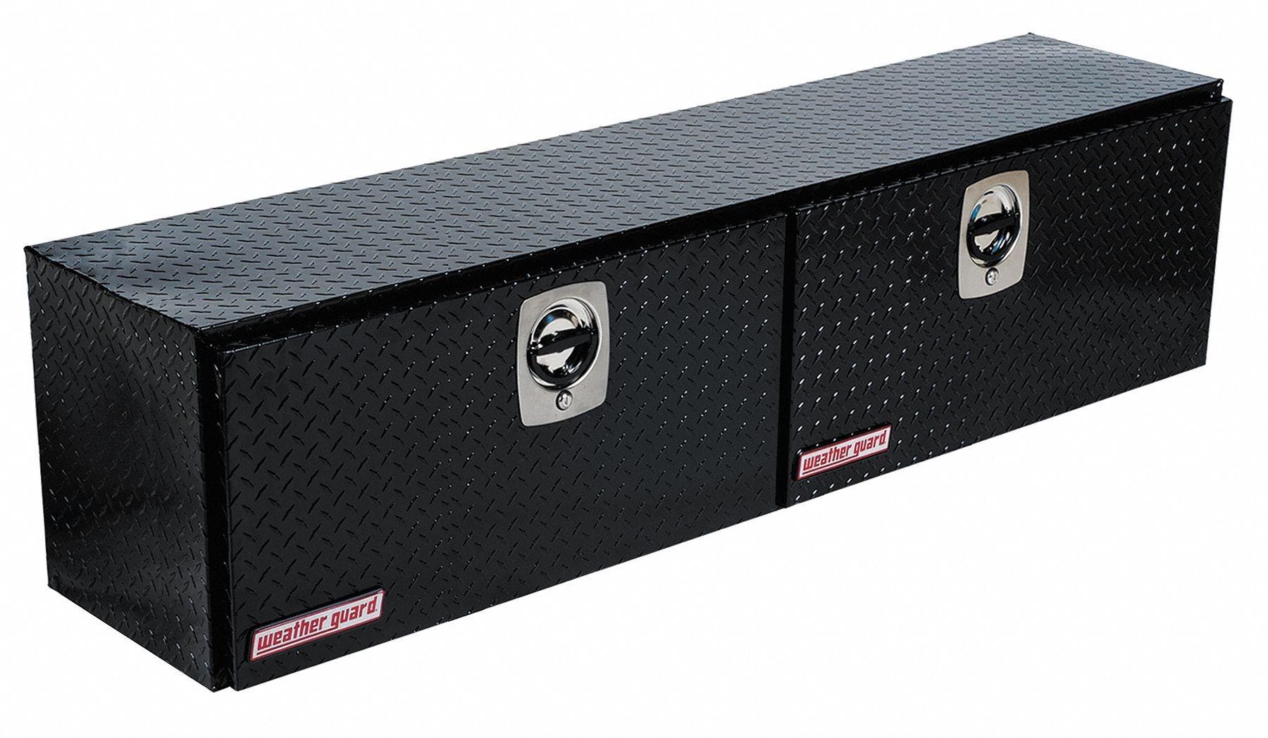 Aluminum Topside Truck Box, Black, Double, 8.9 cu. ft.
