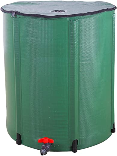 66 Gallon Portable Foldable Rain Barrel,Collapsible Rainwater Tank Water Storage Container Water Collector with Spigot Filter,Green