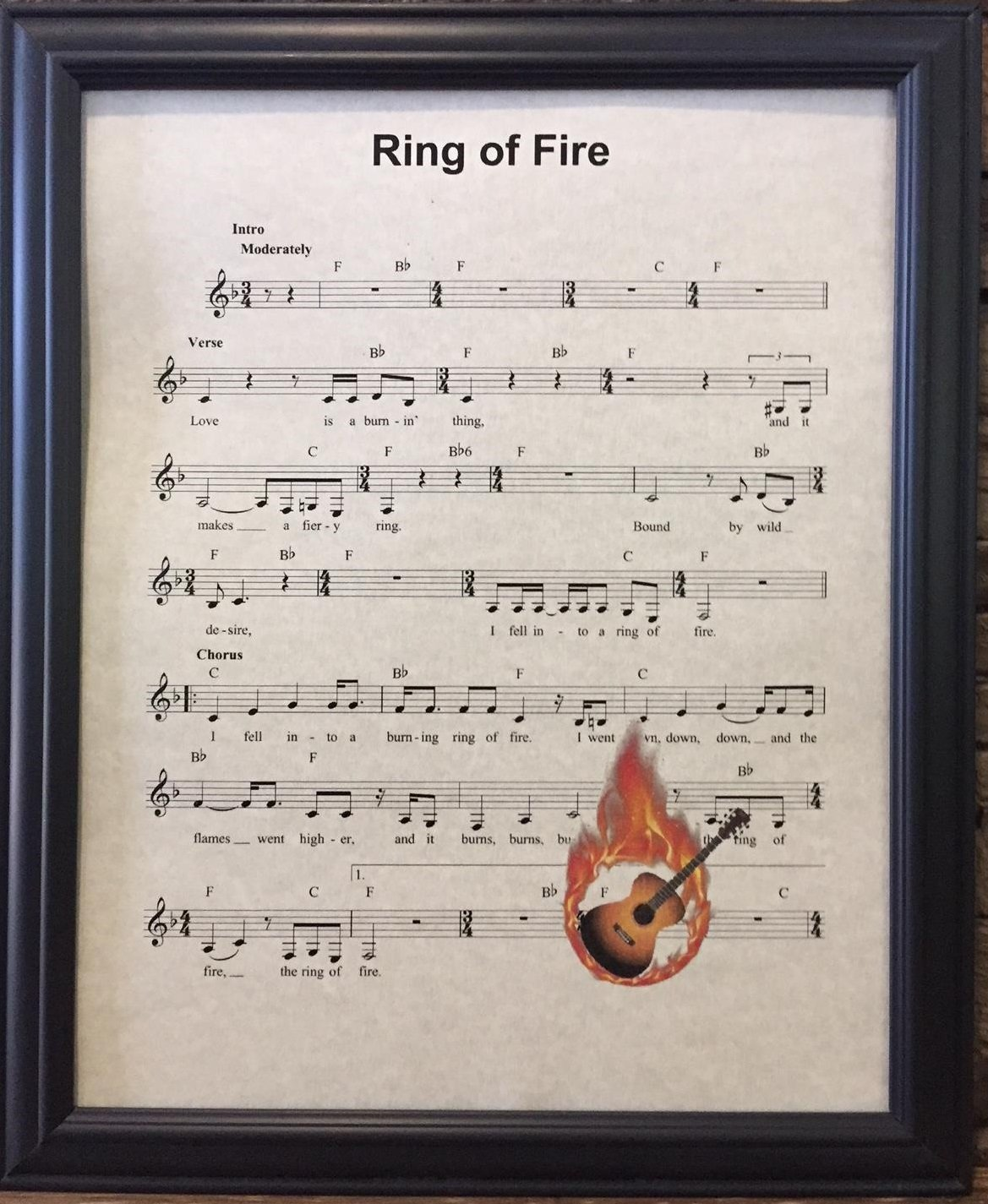 unframed Ready Prints Ring of Fire by Johnny Cash Music Sheet Artwork Print Picture Poster Home Office Bedroom Nursery Kitchen Wall Decor