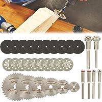 EWRT 32 peças de kits de discos de corte de diamante, haste de 0,35 cm, mini lâminas de corte para ferramenta rotativa