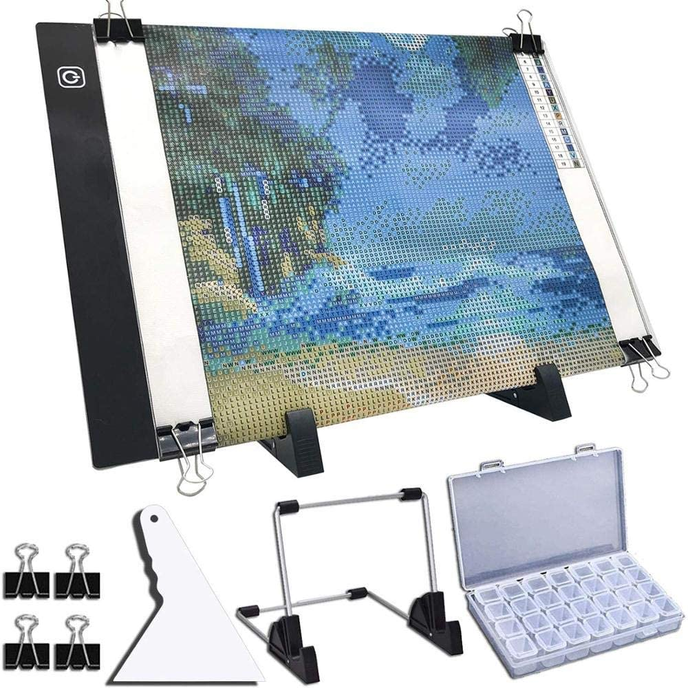JZUO A4 LED-Lichtpad für Diamantmalerei USB Powered Light Board Kit Einstellbare Helligkeit mit abnehmbarem Ständer und Clips 64ge 78ge