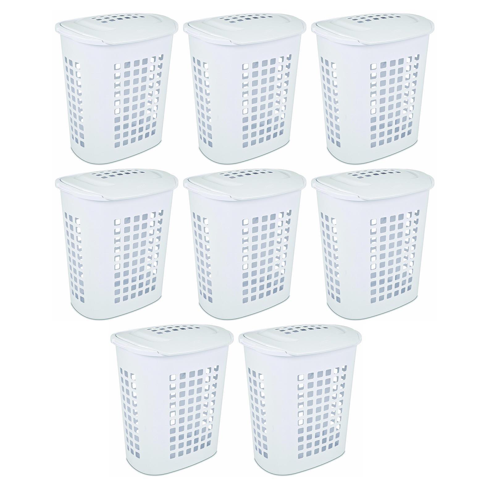 Sterilite 2.3 Bushell 81 Liter Lift Top XL Laundry Basket Hamper, White (8 Pack)
