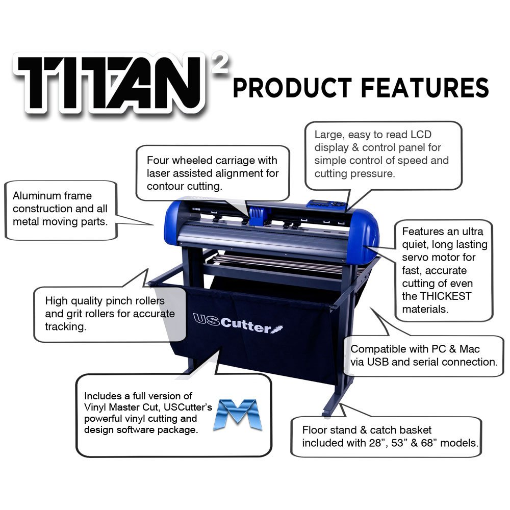 USCutter 28-inch Titan 2 Vinyl Cutter/Plotter with Stand, Basket and Design and Cut Software by USCutter (Image #3)