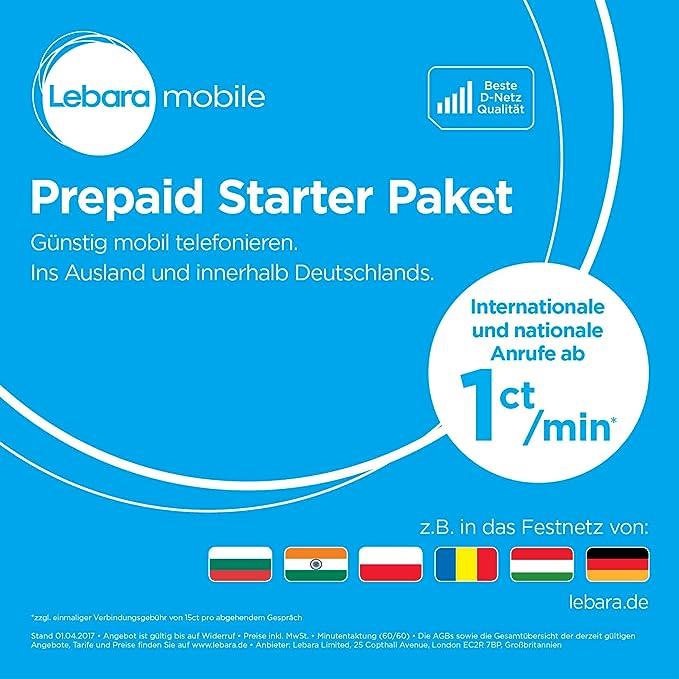 Lebara Prepaid-SIM-Karte mit 10 Euro Startguthaben: Amazon.de ...