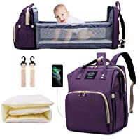 Diaper Bag Backpack with Changing Station, Nappy Baby Bags with Foldable Baby Bed & Portable Changing Pad, 900D Waterproof Crib Infant Sleeper Nest for Girl Boy (Purple)