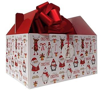 Caja gigante para regalo de Navidad con diseño de Papá Noel, muñeco de nieve y reno, caja de cartón con lazo y etiqueta de regalo: Amazon.es: Hogar