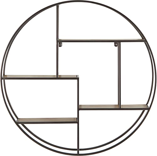 Rivet Contemporary Round Floating Iron 4 Shelf Wall Unit – 29.72 W, Natural Wood and Silver