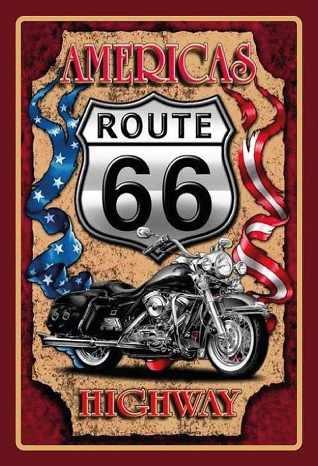 Metal Sign Domed 20 x 30 cm FS Retro Route 66 Americas Highway Motorcycle